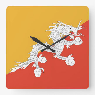 Wall Clock with Flag of Bhutan