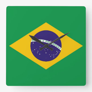 Wall Clock with Flag of Brazil