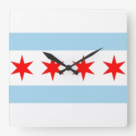 Wall Clock with Flag of Chicago, Illinois, USA