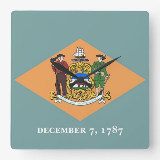 Wall Clock with Flag of Delaware, USA