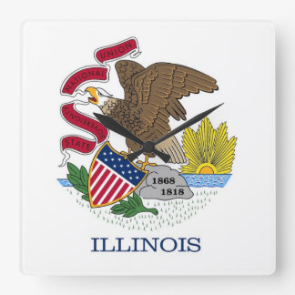Wall Clock with Flag of Illinois, USA