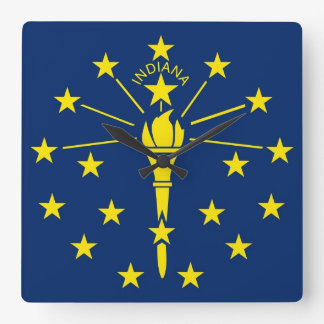 Wall Clock with Flag of Indiana, USA