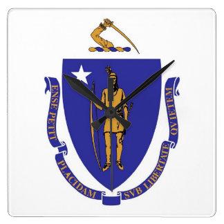 Wall Clock with Flag of Massachusetts, USA