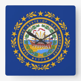 Wall Clock with Flag of New Hampshire, USA