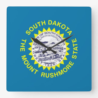 Wall Clock with Flag of South Dakota, USA