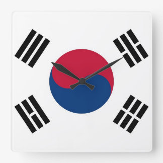 Wall Clock with Flag of South Korea