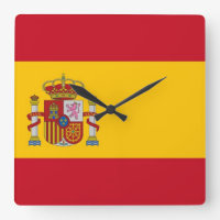 Wall Clock with Flag of Spain