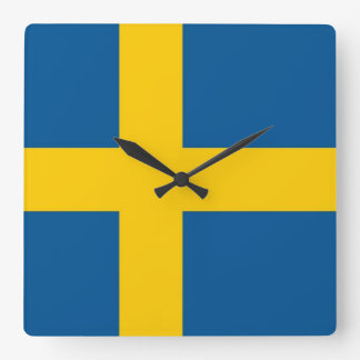 Wall Clock with Flag of Sweden