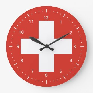 Wall Clock with flag of Switzerland