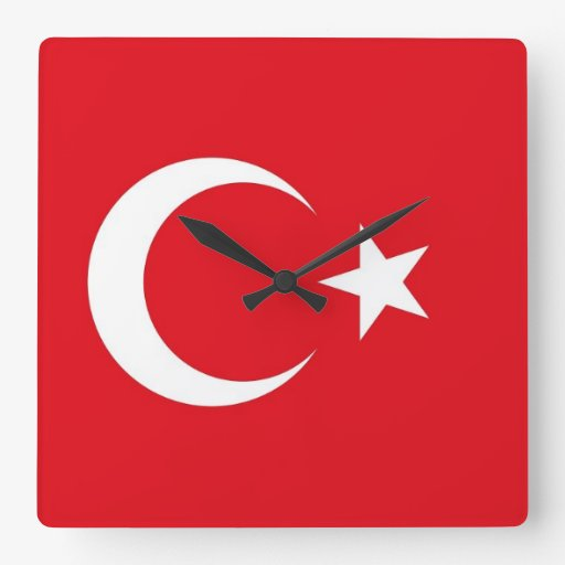Wall Clock with Flag of Turkey