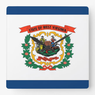 Wall Clock with Flag of West Virginia, USA