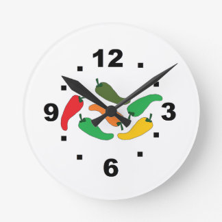 wall clock with peppers,chiles ideal para cocina
