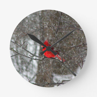 wall clock with photo of male cardinal