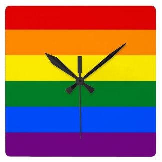 Wall Clock with Rainbow LGBT Pride Flag