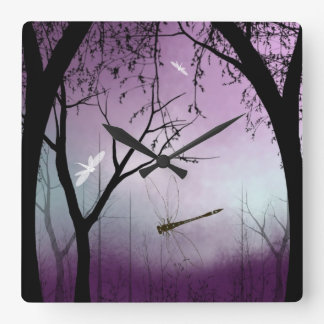 Wall Clock Woodland with dragonflies At Twilight