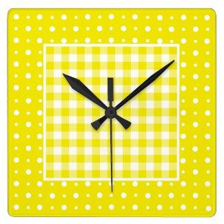 Wall Clock, Yellow Check Gingham and Polka Dots