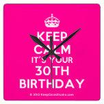 [Crown] keep calm it's your 30th birthday  Wall Clocks