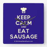 [Chef hat] keep calm and eat sausage  Wall Clocks