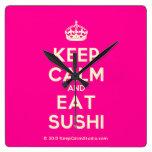 [Crown] keep calm and eat sushi  Wall Clocks