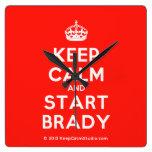 [Crown] keep calm and start brady  Wall Clocks