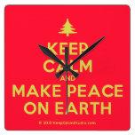 [Xmas tree] keep calm and make peace on earth  Wall Clocks