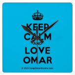 [Crown] keep calm and love omar  Wall Clocks