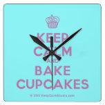 [Cupcake] keep calm and bake cupcakes  Wall Clocks