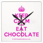 [Crown] keep calm and eat chocolate  Wall Clocks