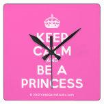 [Crown] keep calm and be a princess  Wall Clocks