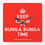 [Crown] keep calm it's bunga bunga time  Wall Clocks