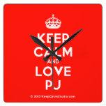 [Crown] keep calm and love pj  Wall Clocks