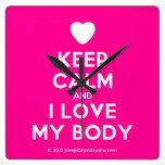 [Love heart] keep calm and i love my body  Wall Clocks