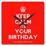 [Cupcake] keep calm its your birthday  Wall Clocks