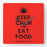[Cutlery and plate] keep calm and eat food  Wall Clocks