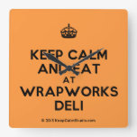 [Crown] keep calm and eat at wrapworks deli  Wall Clocks