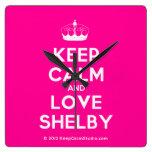 [Knitting crown] keep calm and love shelby  Wall Clocks