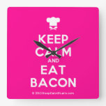 [Chef hat] keep calm and eat bacon  Wall Clocks