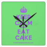 [Crown] keep calm and eat cake  Wall Clocks