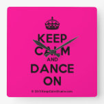 [Crown] keep calm and dance on  Wall Clocks