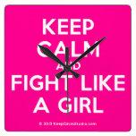 keep calm and fight like a girl  Wall Clocks