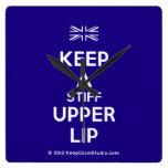 [UK Flag] keep a stiff upper lip  Wall Clocks