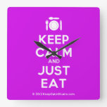 [Cutlery and plate] keep calm and just eat  Wall Clocks