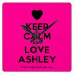 [Love heart] keep calm and love ashley  Wall Clocks