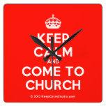 [Crown] keep calm and come to church  Wall Clocks