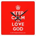 [Cupcake] keep calm and love god  Wall Clocks