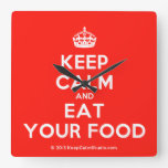 [Crown] keep calm and eat your food  Wall Clocks