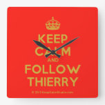 [Crown] keep calm and follow thierry  Wall Clocks