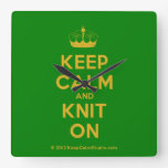 [Knitting crown] keep calm and knit on  Wall Clocks