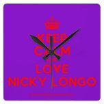 [Crown] keep calm and love nicky longo  Wall Clocks