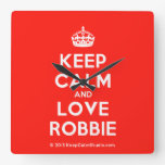 [Crown] keep calm and love robbie  Wall Clocks